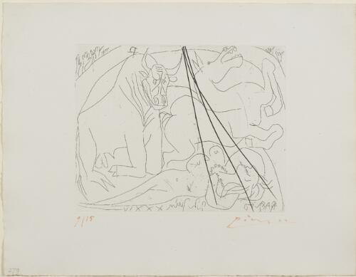 Suite Vollard, 1939, Paris: Femme Torero III (Bull, Horse, and Reclining Woman)