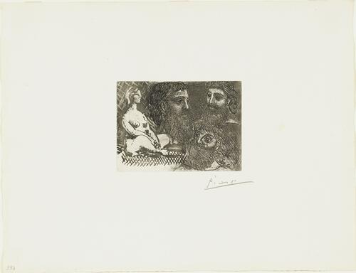 Suite Vollard, 1939, Paris: Seated Nude and Three Bearded Heads (Seated Nude and Three Studies of a Head)