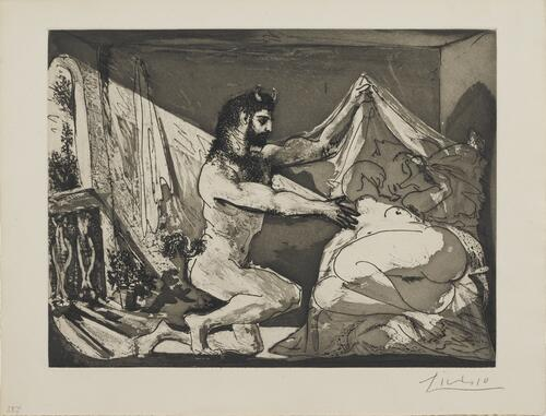 "Suite Vollard, 1939, Paris: Faun Unveiling a Sleeping Woman (""Jupiter and Antiope"" After Rembrandt)"
