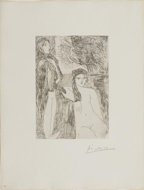 Suite Vollard, 1939, Paris: Rembrandt and Two Women (Two Nudes and Portrait of Rembrandt)