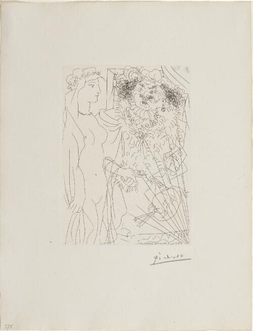 Suite Vollard, 1939, Paris: Rembrandt and Woman with Veil (Standing Nude with Flowing Headdress, and Portrait of Rembrandt with Palette)