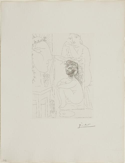 Suite Vollard, 1939, Paris: Model Leaning on a Painting (Seated Nude with Painting and Sculptured Head)