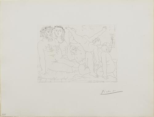 Suite Vollard, 1939, Paris: Family of Saltimbanques (Sculptor and Model Watching Three Jugglers)