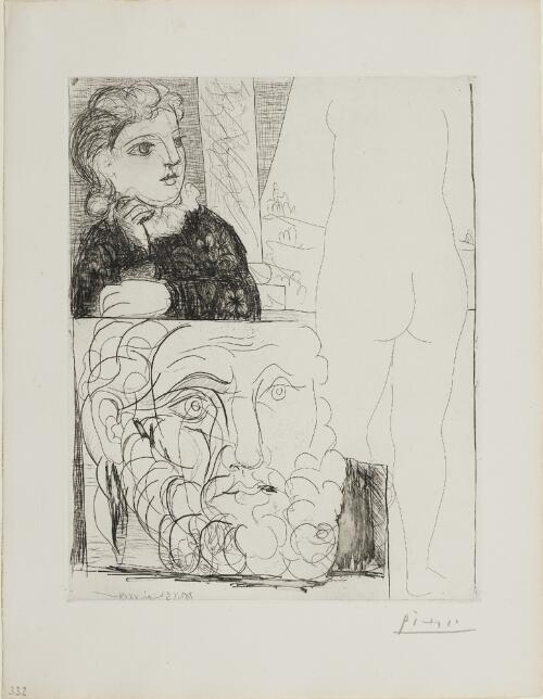 Suite Vollard, 1939, Paris: Leaning Woman, Back of Sculpture and Bearded Head (Young Girl with Drawing of Male Head, and Nude Seen from the Back)
