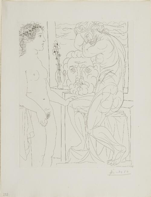 Suite Vollard, 1939, Paris: Nude Model and Sculptures (Female Model and Two Sculptures)