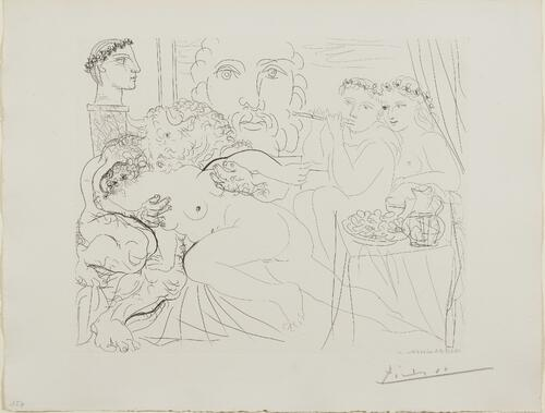 Suite Vollard, 1939, Paris: Minotaur Caressing a Woman (Minotaur Caressing Girl.  at Right, Flute-Playing Boy and Girl at a Table with Fruits and Pitcher)