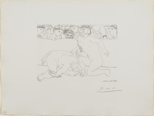 Suite Vollard, 1939, Paris: Defeated Minotaur (Minotaur Defeated by Youth in Arena)