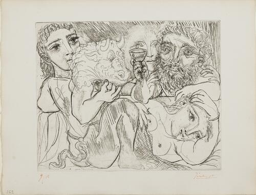 Suite Vollard, 1939, Paris: Minotaur, Man Drinking and Women (Minotaur, Drinking Sculptor, and Three Models)