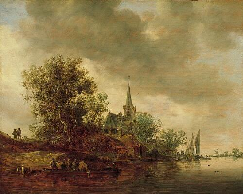 River Landscape with a Village Church
