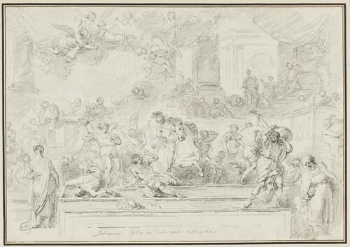 Study After Francesco Solimena: Heliodorus Expelled from the Temple (from Gesu Nuovo)