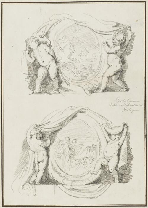 Study After Carlo Cignani: Two Medallions Supported by Putti (from the San Michele in Bosco)