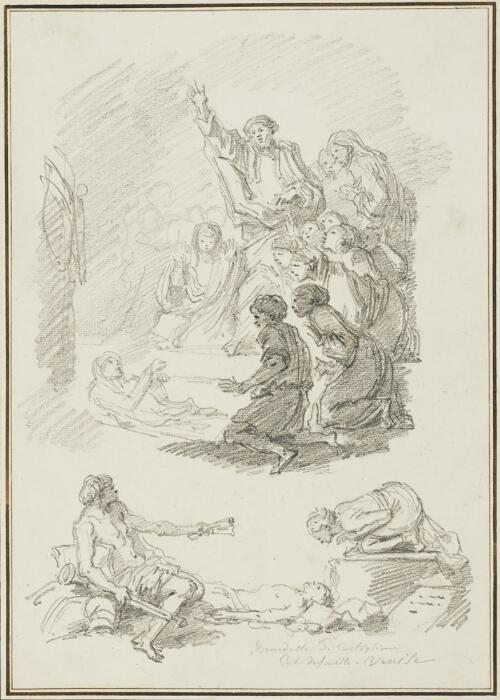Study After Giovanni Benedetto Castiglione: Two Studies of the Resurrection of Lazarus (from the Collection of Console Smith)
