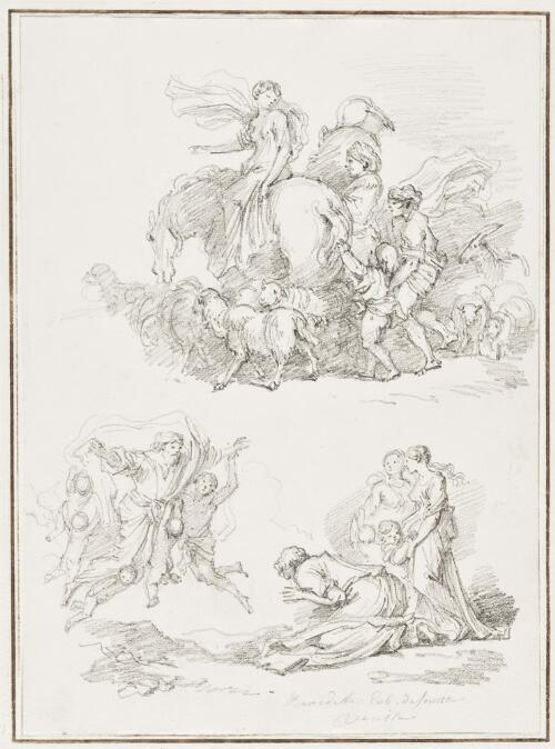 Study After Giovanni Benedetto Castiglione: Woman on Horseback (provenance unknown) and Apparition of God to Jacob (from the Collection of Console Smith)