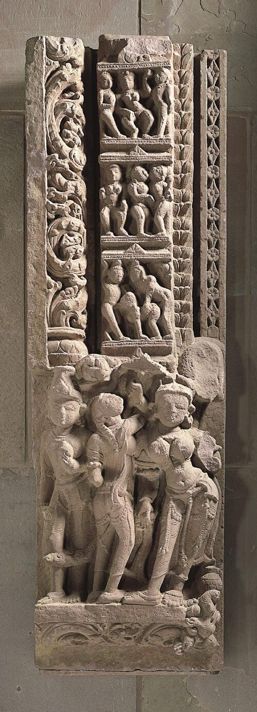 Doorjamb with River Goddess and Amorous Scenes