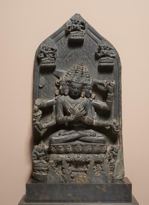 Stele with Transcendental Buddhas and Goddesses
