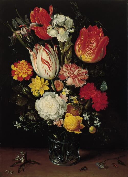 Flowers in a Glass Beaker