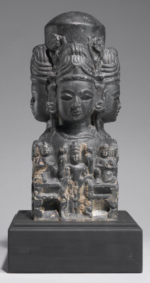 Shivalingam with Faces and Figures