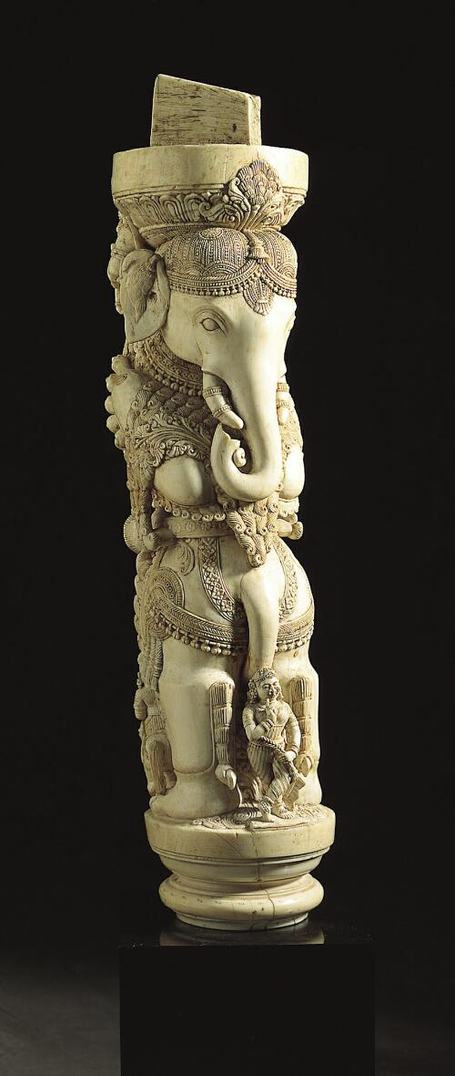 Furniture Leg with Elephant, Hunter and Dancer