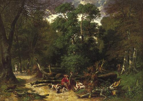 Woodland Scene with Hunters