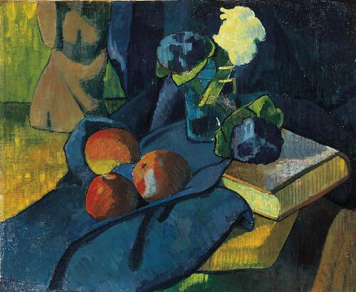 Still Life with Apples and Violets